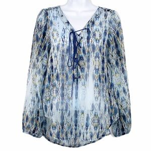 JESSICA SIMPSON blue lace up sheer blouse M